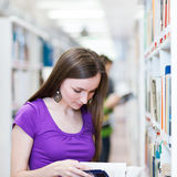 Pretty, young college student in a library Royalty Free Stock Photo
