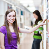 Pretty, young college student in a library. (shallow DOF; color toned image Stock Images