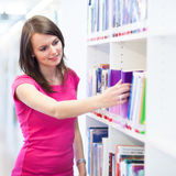 Pretty young college student in a library. (shallow DOF; color toned image Royalty Free Stock Image