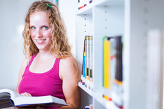 Pretty, young college student  in a library Royalty Free Stock Images