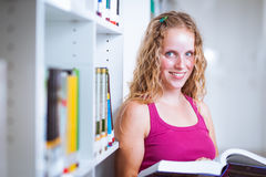Pretty, young college student  in a library Stock Photography
