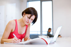 Pretty young college student studying in the library Royalty Free Stock Image