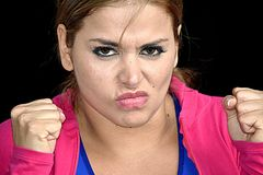 Athlete Teenager Female And Anger. A pretty young Colombian adult female Royalty Free Stock Photography