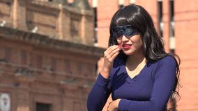 Sad Crying Woman Wearing Sunglasses And Wig. A pretty young Colombian adult female stock video