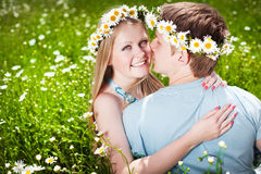 Pretty young couple. In the fields Stock Images