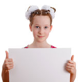 Pretty young cute kid girl holding empty blank board Stock Photography