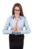 Pretty young woman welcomes us bowed Stock Photos