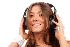 Pretty young DJ woman listening music Stock Photo