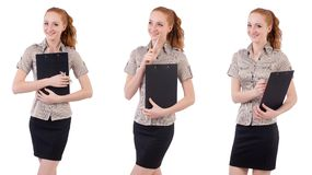 The pretty young employee with briefcase isolated on white Stock Image