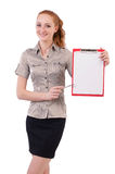 Pretty young employee with paper isolated on white Royalty Free Stock Photography