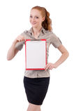 Pretty young employee with paper isolated on white Stock Photos
