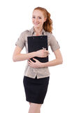 Pretty young employee with paper isolated on white Stock Image