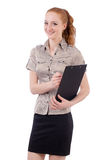 Pretty young employee with paper isolated on white Royalty Free Stock Images