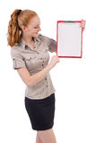 Pretty young employee with paper isolated on white Royalty Free Stock Image