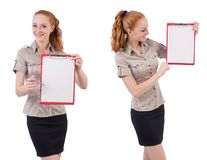 The pretty young employee with paper isolated on white Royalty Free Stock Image