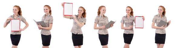 The pretty young employee with paper isolated on white Stock Photos