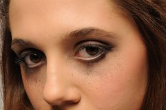 Pretty young face close up ~Eyes open Stock Photo