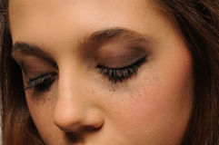 Pretty young face close up - Eyes shut Stock Images