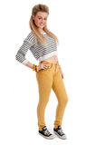 Pretty young female in casual clothes isolated Royalty Free Stock Images
