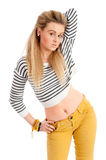 Pretty young female in casual clothes isolated Stock Images