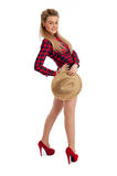 Pretty young female casual clothes and straw hat Stock Photography