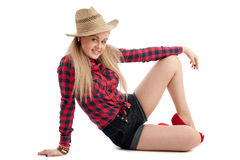 Pretty young female casual clothes and straw hat Stock Photo