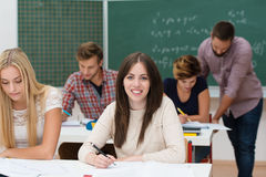 Pretty young female college student Stock Photos