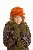 Pretty young female dressed up warm Stock Photos