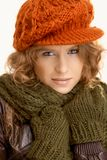 Pretty young female dressed up warm Stock Photo