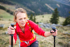 Pretty, young female hiker Stock Images