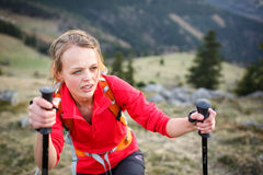 Pretty, young female hiker Stock Photography
