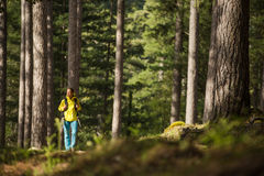 Pretty, young female hiker walking Stock Photos