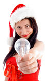 Pretty young female holding electric bulb Stock Image