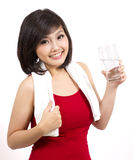 Pretty young female holding glass Royalty Free Stock Image