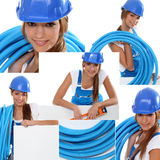 Pretty young female laborer Stock Photography