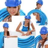 Pretty young female laborer. Portraits of a pretty young female laborer Stock Photography