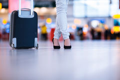 Pretty young female passenger at the airport Stock Photography