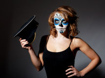 Pretty young female in sugar skull make up Royalty Free Stock Images