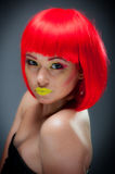 Pretty Young Female With Colorful Makeup Royalty Free Stock Images