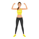 Pretty young fit woman showing her biceps. Smiling girl in leggings and crop top. Isolated vector character. Royalty Free Stock Photography