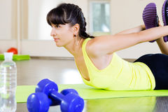 Pretty young fitness girl  in gym Royalty Free Stock Images
