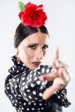 Pretty young flamenco dancer in beautiful dress. Stock Photography