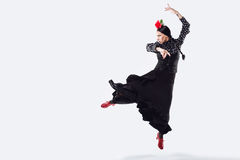 Pretty young flamenco dancer in beautiful dress. Royalty Free Stock Photos