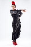 Pretty young flamenco dancer in beautiful dress. Royalty Free Stock Photography