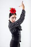 Pretty young flamenco dancer in beautiful dress. Stock Photos