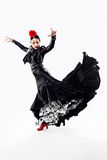 Pretty young flamenco dancer in beautiful dress. Royalty Free Stock Image
