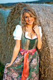 Pretty young german oktoberfest blonde woman in a dirndl dress Royalty Free Stock Images