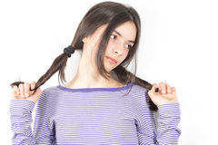 Pretty young  girl. Looking up Stock Photography