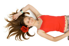 Pretty young girl. Isolate on white Royalty Free Stock Photos