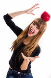 Pretty, Young Girl And Red Apple. Stock Images